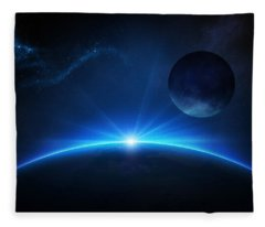 Fantasy Earth And Moon With Sunrise Fleece Blanket