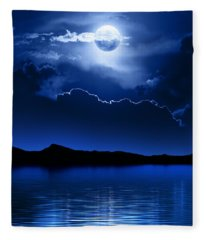 Fantasy Moon And Clouds Over Water Fleece Blanket
