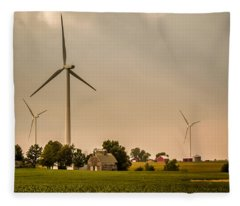 Farms And Windmills Fleece Blanket