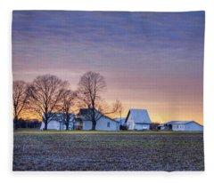 Farmstead At Sunset Fleece Blanket