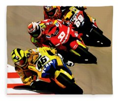 Faster  Valentino Rossi Nicky Hayden Fleece Blanket
