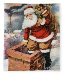 Father Christmas Popping Down The Chimney To Deliver Gifts To The Good.  Fleece Blanket