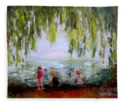 Feeding Ducks At Fort Dent Park Fleece Blanket