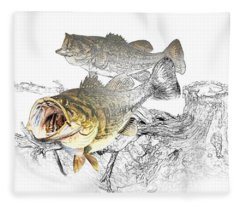 Feeding Largemouth Black Bass Fleece Blanket