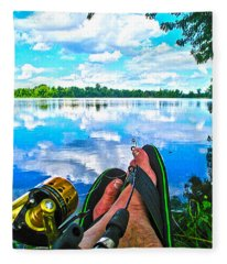 Feet Up Fishing Crab Orchard Lake Fleece Blanket