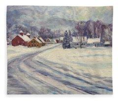 Felchville Village In The Snow Fleece Blanket