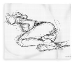 Female-erotic-sketches-8 Fleece Blanket
