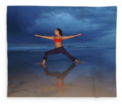 Female Performs Yoga On Beach Fleece Blanket