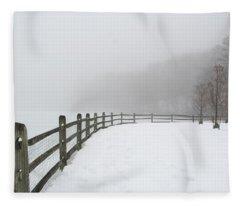 Fence In Fog Fleece Blanket