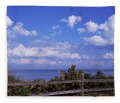 Fence On The Beach, Tampa Bay, Gulf Of Fleece Blanket