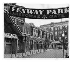 Fenway Park Banner Black And White Fleece Blanket