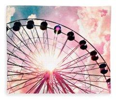 Ferris Wheel In Pink And Blue Fleece Blanket