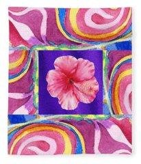 Festive Floral Hibiscus  Fleece Blanket