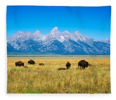 Field Of Bison With Mountains Fleece Blanket
