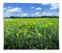 Field Of Flowers Sky Of Clouds Fleece Blanket