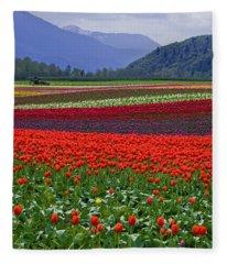 Field Of Tulips Fleece Blanket