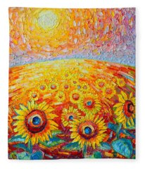 Fields Of Gold - Abstract Landscape With Sunflowers In Sunrise Fleece Blanket