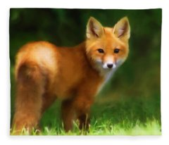 Fleece Blanket featuring the photograph Fiery Fox by Christina Rollo