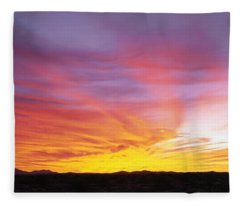 Fiery Sky Over Sonoran Desert Fleece Blanket