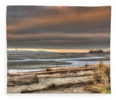Fiery Sky Over The Salish Sea Fleece Blanket