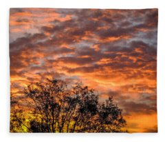 Fiery Sunrise Over County Clare Fleece Blanket