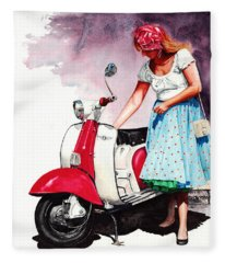 Fifties Lambretta Girl Fleece Blanket