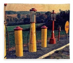 Fill 'er Up Vintage Fuel Gas Pumps Fleece Blanket