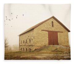Filley Stone Barn 1 Fleece Blanket