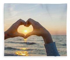 Fingers Heart Framing Ocean Sunset Fleece Blanket
