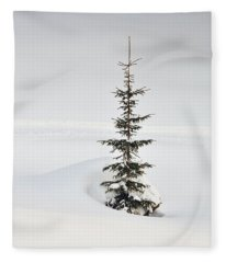 Fir Tree And Lots Of Snow In Winter Kleinwalsertal Austria Fleece Blanket
