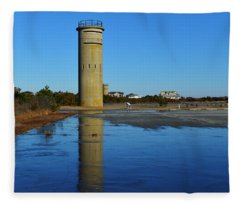 Fire Control Tower 3 Icy Reflection Fleece Blanket