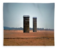 Fct5 And Fct6 Fire Control Towers On The Beach Fleece Blanket