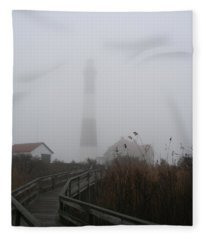 Fire Island Lighthouse In Fog Fleece Blanket