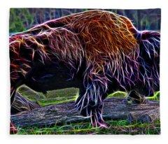Fire Of A Bison  Fleece Blanket