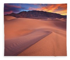 Fire On Mesquite Dunes Fleece Blanket