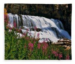 Fireweed Blooms Along The Banks Of Granite Creek Wyoming Fleece Blanket
