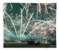Fireworks And Aircraft Fleece Blanket