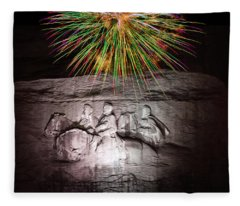 Fireworks Over Stone Mountain Fleece Blanket