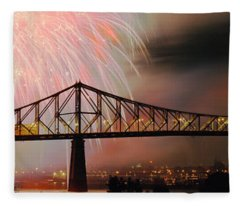 Fireworks Over The Jacques Cartier Fleece Blanket