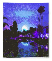 Fireworks Venice California Fleece Blanket
