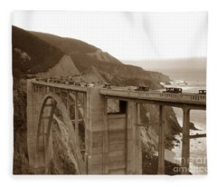 First Cars Across Bixby Creek  Bridge Big Sur California  Nov. 1932 Fleece Blanket