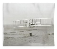First Flight Captured On Glass Negative - 1903 Fleece Blanket