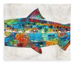 Fish Art Print - Colorful Salmon - By Sharon Cummings Fleece Blanket
