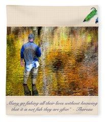 Fisherman In Autumn Fleece Blanket