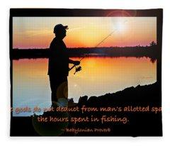 Fisherman Silhouette Sunset Mountain Lake Fishing Proverb Fleece Blanket