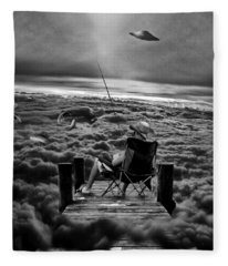 Fishing Above The Clouds Grayscale Fleece Blanket