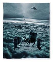 Fishing Above The Clouds Fleece Blanket