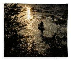 Fishing At Sunset - Thousand Islands Saint Lawrence River Fleece Blanket