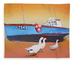 Fishing Boat Walberswick With Geese Fleece Blanket
