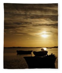 Fishing Boats In Cacela Velha Fleece Blanket